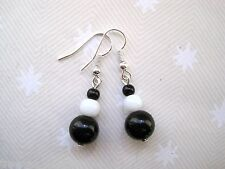 VINTAGE STYLE MONOCHROME BLACK & WHITE GLASS BEAD SP Drop Earrings 1960's
