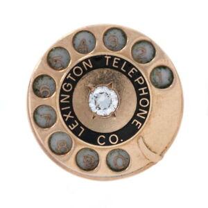 Diamond Lexington Telephone Co Pin - 10k Yellow Gold Rotary Dial Vintage