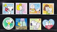 JAPAN 2010 SNOOPY OF PEANUTS COMIC GREETING COMP. SET OF 8 STAMPS IN FINE USED