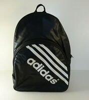 Vintage Adidas Black Faux Leather Backpack Classic Three White Stripes