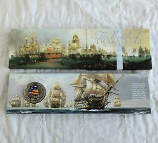 ALDERNEY 2005 BATTLE OF TRAFALGAR B/UNC £5 CROWN WITH COLOUR FLAGS - sealed pack