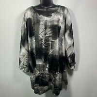 Chicos Sheer pullover Round neck  Shirt Blouse Top Size XL 3 Elastic Waist Black