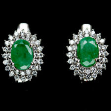NATURAL 5 X 7mm. GREEN EMERALD & WHITE CZ STERLING 925 SILVER EARRINGS