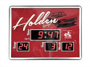 Holden Garage Digital LED Glass Clock Displays Time Date & Temperature V8