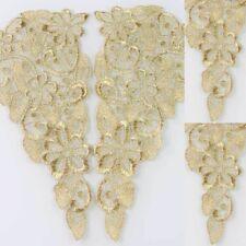 1 Mirror Pair Venise Costume Sewing Gold Flower Floral Lace Trims Applique