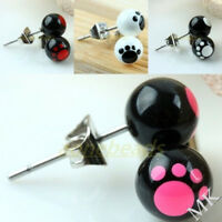 1 Pair Dog Puppy Animal Paw Footprint Stainless Steel Stud Ear Earrings Jewelry