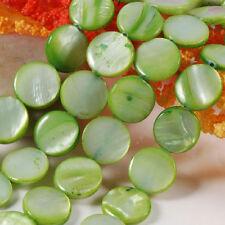 Strang leicht Grün natur Perlmutt Muschel Münze Scheibe Perlen Beads 11,5MM