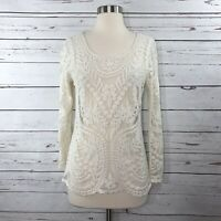Express Long Sleeve Embroidered Blouse Small Floral Ivory Scalloped Mesh Cotton