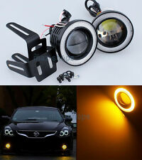 "2Pcs Amber 3"" Projector LED Fog Light w/ COB Halo Angel Eyes Rings For Nissan MK"