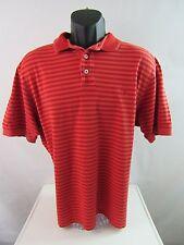 Tommy Bahama Men's Striped Polo Shirt Sample Marlin Logo Red Orange Size L