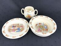 Vintage ROYAL DOULTON China Set of 3 Pieces BUNNYKINS Plate / Bowl / Cup