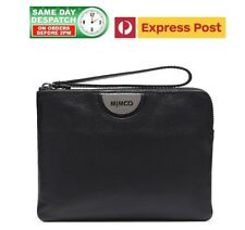 MIMCO ECHO Medium Pouch Matte BLACK GUNMETAL Logo BNWT Dustbag+FREE EXPRESS POST