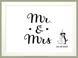 """MR & MRS"" Personalised WEDDING PRINT Anniversary Memories Keepsake Gift Present"