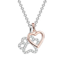 925 Sterling Silver Dog Paw with Rose Gold Heart Pendant Necklace 18 Inches New