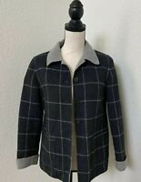 TALBOTS  Womens sz 2 Petites Gray  Plaid 100% wool Blazer Coat