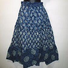 Skirt Fit L XL 1X 2X Plus Denim Look Blue Stamp Art Tiered Geometric NWT G002 DD
