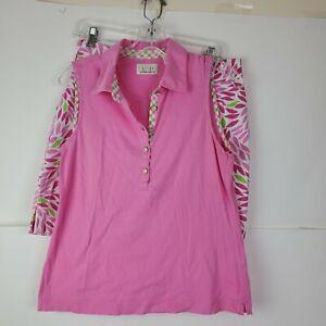 EP Pro Tour Womens Pink M Golf Sleeveless Polo Shirt Top Sz 6 Skirt Set Plaid