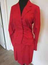 PRADA HOT CANDY RED NOTCH-COLLAR RUCHED 2-PIECE TOP & SKIRT Sz 42 IT / 4-6 US