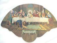 VINTAGE THE LAST SUPPER RELIGIOUS PULL OUT CARDBOARD FAN