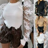 Women Mesh Sheer Puff Sleeve Tops T-shirt Ladies Polka Neck Slim Blouse New