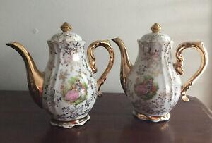 Lovely Pair Of Vintage White & Gold Teapots - Romantic Couple Scene- Japan