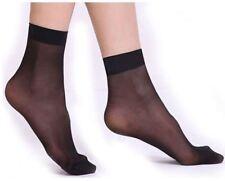 Women Ladies ultra thin Sheer transparent Short Socks Elastic Nylon Skin Black