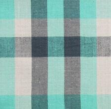 Madras Plaid, Cotton Fabric. 2½ Yards. Sea Green, Black, White. Woven Tartan
