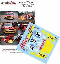 DECALS 1/24 REF 1547 MITSUBISHI LANCER PONS RALLYE TOUR DE CORSE 2003 RALLY WRC