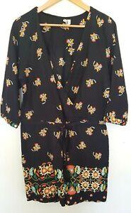 O'NEILL Ladies Designer Black Floral Print Long Sleeve Romper size 10 EUC