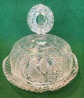 Hofbauer Crystal The Byrdes Collection Cheese Plate w/ Lid - Excellent Condition