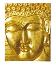 "Holz Wandbild ""Buddha"" - Palm Holz vergoldet - Kunsthandwerk aus Bali 20x24cm"