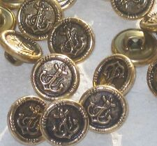 """Lot 25 ANCHOR Picture Set Vintage New Antiqued Gold METAL Small 1/2"""" buttons"""