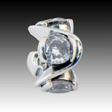 """Bead  Charm JB-18A, Chamilia NWT Sterling .925 Silver """"Forever"""" w/Clear CZ's"""