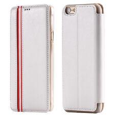 """Luxus LEDER Flip Cover Hülle für iPhone 6 / 6S  (4.7"""") - WEIß WHITE"""