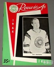 1964-65 AHL Quebec Aces Program Guy Rousseau Cover