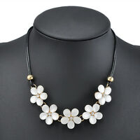 Crystal Flower Women Choker Chunky Statement Bib Necklace Charm Chain Pendant