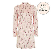 TOPSHOP SPOT JACQUARD RUFFLE SPOTTED DRESS PINK SATIN SIZE 6-16 RRP £60