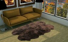 Kimiro Genuine Real Large Chocolate Brown Sheepskin Rug Quarto 4' x 6'