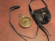 Brass Pocket Compass - Magnetic-Nautical Camping Hiking w/ Leather like Pouch