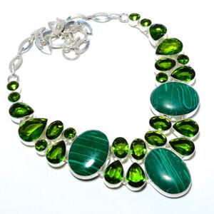 """Malachite & Peridot 925 Sterling Silver Jewelry Handmade Necklace 17.99"""" T8617"""