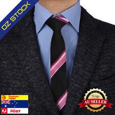 Happy Presents Mens Fashion Black Pink Striped Silk Skinny Tie Epoint EAE1010