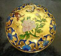 STUNNING Antique CLOISONNE Gold Enamel POT Pink chrysthamums/Blue background