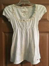 Hollister Junior's White & Cream Short Sleeve Baby Doll Top - Size Small