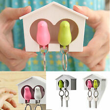 Lover Sparrow Birdhouse Whistle Keychain Home Wall Mounted Hook Holder Key Ring