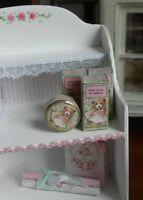 """1:12 dollhouse miniature """"bear"""" theme nursery toiletry box and cream tin - girl"""