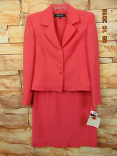 New Kasper Women's Career Pink frills rim 2 Piece Skirt Suit Size 6P ($280)