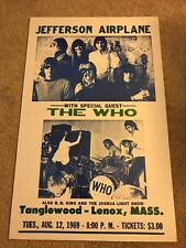 "Jefferson Airplane And The Who Adv. Print concert Poster 22"" X 14"""