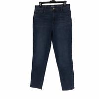Style & Co Womens Blue Denim Slim Leg Dark Wash High Rise Straight Jeans Size 10