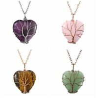 Natural Tree of Life Wire Wrap Heart Crystal Quartz Gem Healing Pendant Necklace