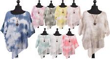 New Italian Ladies Tye Dye Print Shaffon Panel Top wth Star Necklace Batwing Top